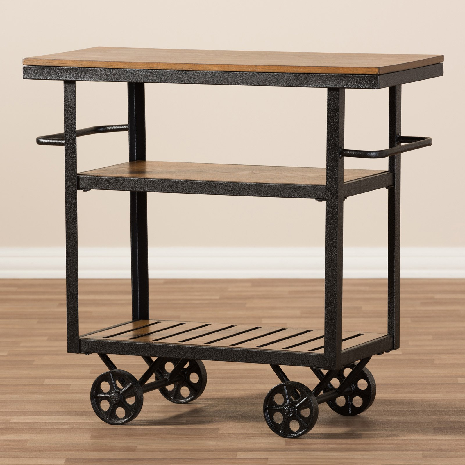 Baxton Studio Kennedy Rustic Antique Black Textured Industrial Metal and Distressed Wood Mobile Serving Cart by Wholesale Interiors