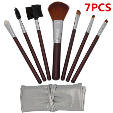 7pcs Brown Professional Cosmetic Makeup Make up Brush Brushes Set Kit with Silver Bag Case