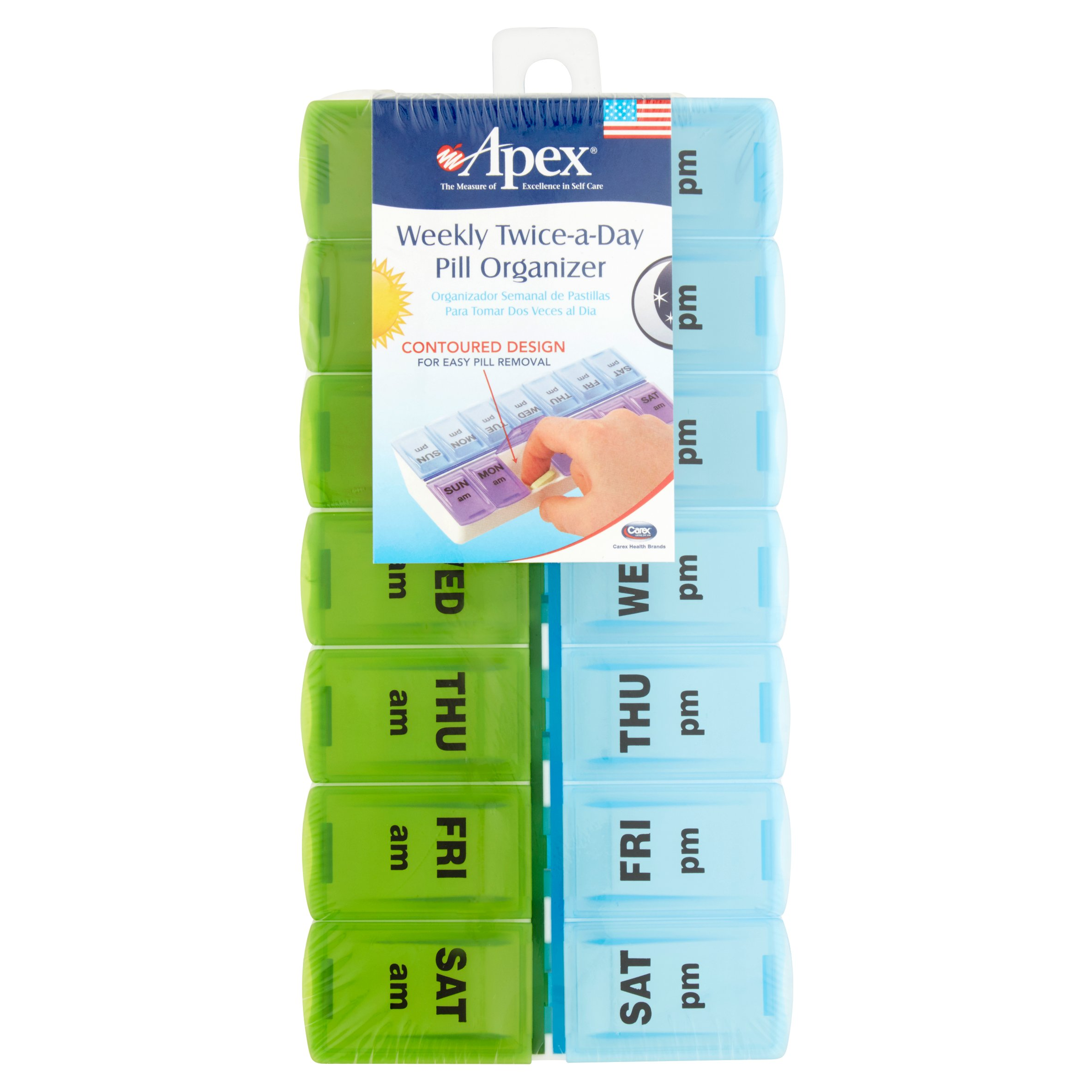 Apex Twice A Day Pill Organizer - AM/PM 7 Day Pill Box, Blue and Green