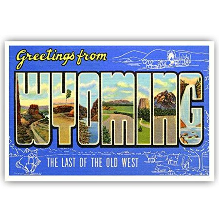 GREETINGS FROM WYOMING vintage reprint postcard set of 20 identical postcards. Large letter US state name post card pack (ca. 1930