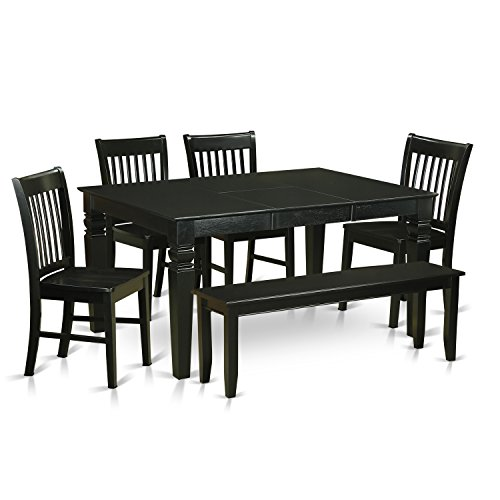 WENO6D BLK W 6 Piece Kitchen Dinette Set   Table And 4 Kitchen