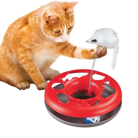 Double Fun Two-In-One Interactive Cat Toy, Includes Track with Ball and Attached Mouse