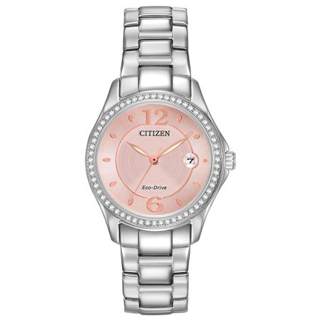 Women's FE1140-86X Silver Stainless-Steel Plated Eco-Drive Fashion