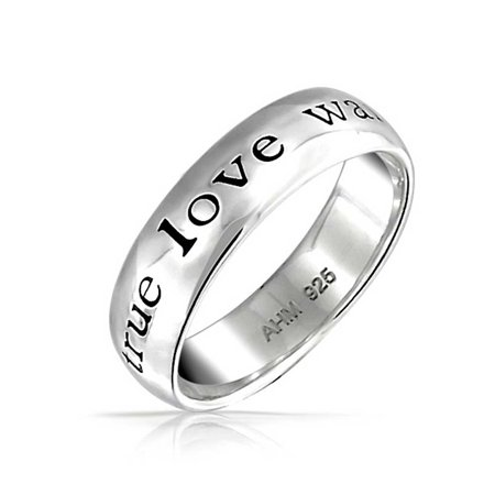 Mantra Sentimental Words True Love Waits Purity Promise Ring Band For Teen 925 Sterling