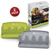 Orblue Giant Spoon and Utensil Rest w/ 2 Color Coded Ladle & Spoon Holder - Lime Green & Slate Gray