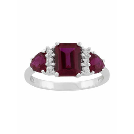 Created Ruby Sterling Silver Side Trillions and Emerald-Cut Center Three-Stone - Ruby Slide