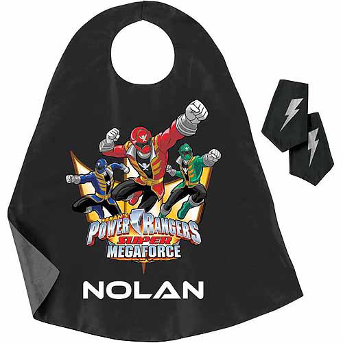 Personalized Power Rangers Super Megaforce Black Super Cape and Cuffs Set