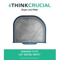 Durable Dryer Lint Filter, Fits LG Dryers DLE4801W, DLEX5101V, DLEX5101W, DLGX5102V, DLGX5102W, RN1317AS, & RV1317TS, Premium Filtration, Part # 5231EL1001C, by By Think Crucial
