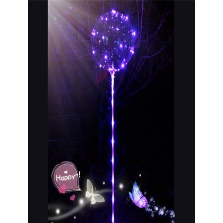 Pink Led Balloons (Reusable Luminous Led Balloon Transparent Round Bubble Decor Party Wedding)