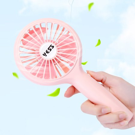 Portable Handheld Fan USB Charge 3 Wind Speeds Fan with Detachable Base for Outdoor Travel Home Office, Blue Pink White Optional - image 3 de 6