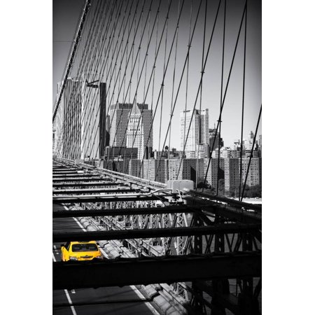 Taxi Cabs - Brooklyn Bridge - Yellow Cabs - Manhattan - New York City - United States Print Wall Art By Philippe Hugonnard