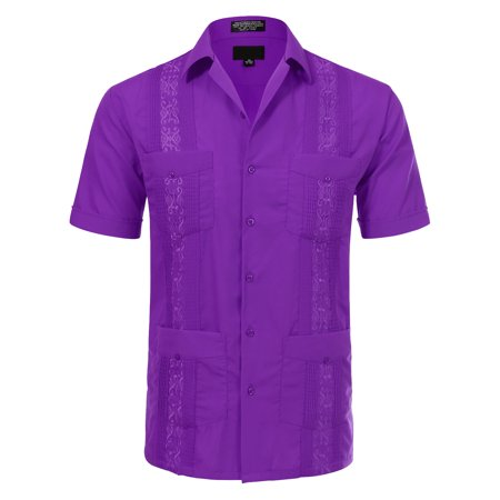 JD Apparel Men's Short Sleeve Cuban Guayabera Shirts 17-17.5N X-Large Purple - Green Organic Woven Shirt