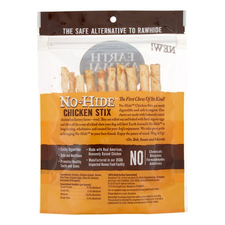 Earth Animal Wellness & Longevity Solutions No-Hide Chicken Stix Small Breed Dog Treats, 10