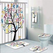 PRTAU Art Tree with Colorful Numbers Math Symbols Fun Kids Drawing 5 Piece Bathroom Set Shower Curtain Bath Towel Bath Rug Contour Mat and Toilet Lid Cover