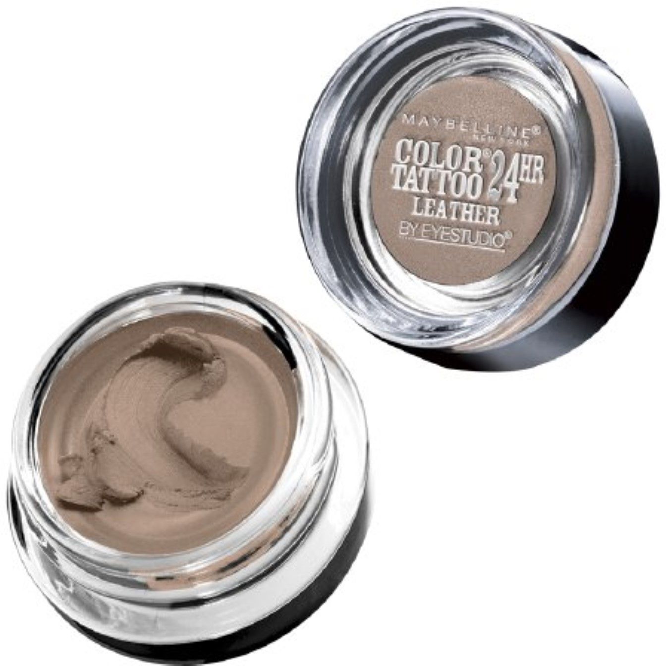 Maybelline New York Color Tattoo 24Hr Leather by EyeStudio Cream Gel Eyeshadow, Creamy Beige 0.14 oz (Pack of 2)