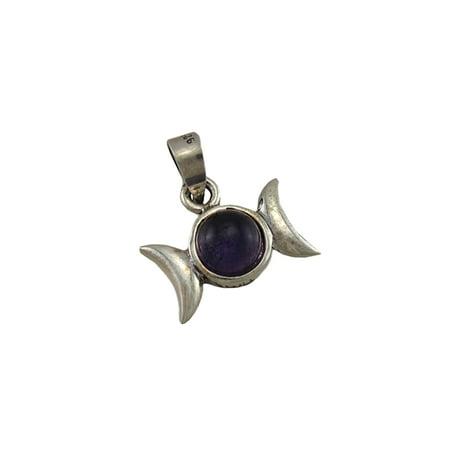 Triple Moon Goddess Pendant w/ Purple Cabochon Stone