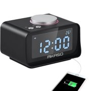AKASO USB Alarm Clock, Digital Alarm Clock Radio Alarm Clock, Charging Alarm Clock, Snooze Function, 5 Dimmer, Indoor Thermometer, Phone Charger with Dual Port USB-Black