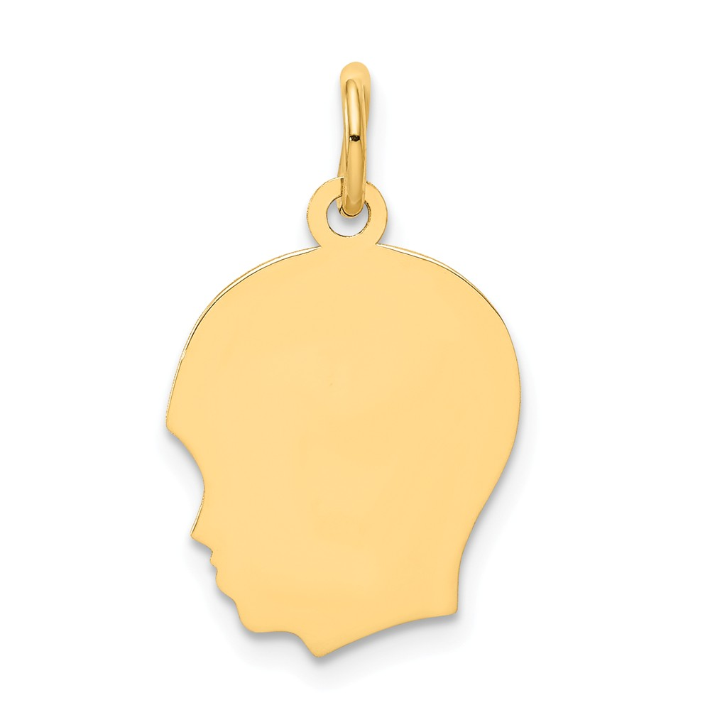 10k Yellow Gold Plain Medium 0.018 Gauge Engravable Facing Left Boy Head Charm (0.9in long x 0.5in wide)