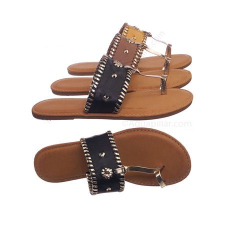 Barton15 by Bamboo, Vintage Flat Toe Ring Slide On Sandal - Women Flat Tstrap Braided
