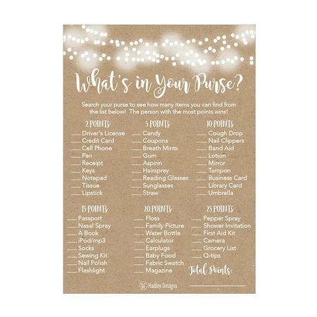 25 Rustic Whats In Your Purse Bridal Wedding Shower or Bachelorette Party Game Item Cards Engagement Activities Ideas For Couples Funny Co Ed Rehearsal Dinner Supplies and Decoration Favors For Guests (Engagement Party Ideas On A Budget)