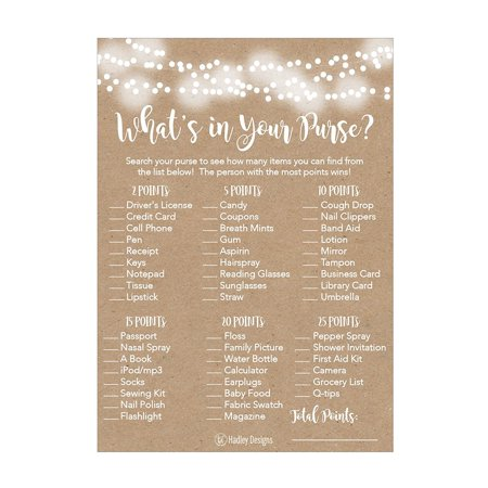 25 Rustic Whats In Your Purse Bridal Wedding Shower or Bachelorette Party Game Item Cards Engagement Activities Ideas For Couples Funny Co Ed Rehearsal Dinner Supplies and Decoration Favors For Guests (Going Away Decoration Ideas)