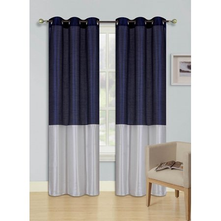 1pc NAVY BLUE IVORY (EID) LINED FOAM BACKING BLACKOUT  Faux Silk Drape Panel Top Chrome Metallic Grommet Window Curtain Treatment Drape 2 Shade 37 wide x 63 length