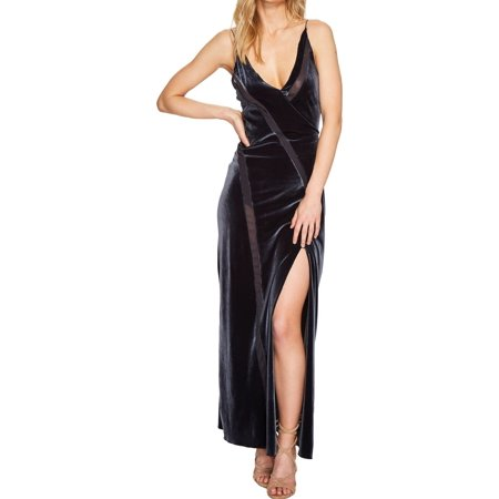 - Free People NEW Gray Women's Size XS Velvet Mesh Slit Gown Dress