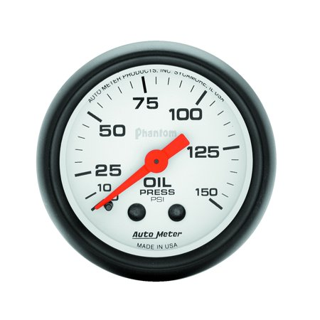 AutoMeter 5723 Phantom Mechanical Oil Pressure Gauge; 2-1/16 in.; White Dial Face; Fluorescent Red Pointer; White Incandescent Lighting; Mechanical; 0-150 PSI;