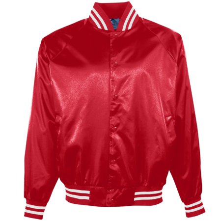 Augusta SATIN BASEBALL JKT/STRIPED TRM RED/WHI L (Womens Coats Columbia)