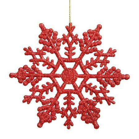 Vickerman Plastic Glitter Snowflake, 4-Inch, Red, 24 Per Box (Plastic Snow Flakes)