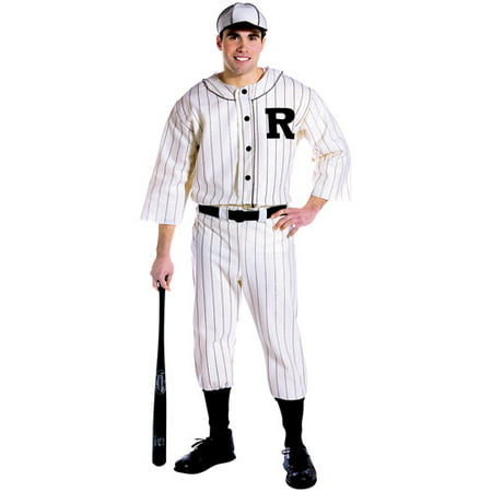 Old School Scary Halloween Costumes (Old Tyme Baseball Player Adult Halloween Costume, Size: Men's - One)