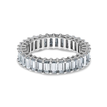 3.40 Carat (ctw) (3.70 Ct. Look) Synthetic Moissanite Eternity Wedding Band Ring in 14K White Gold - image 1 of 6