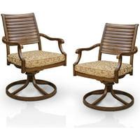 Furniture of America Mekayla Patio Rocking Chair, Set of 2, Brown