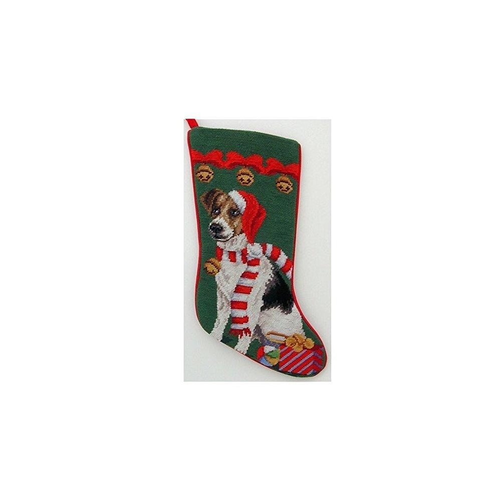 jack russell terrier needlepoint christmas stocking