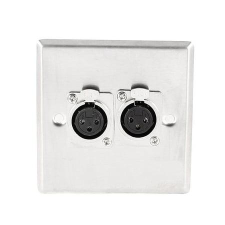 Unique Bargains Audio Microphone Double XLR 3 Pin Female MIC Speaker Sockets Plate Connector
