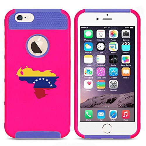 Apple iPhone SE Shockproof Impact Hard Soft Case Cover Venezuela Venezuelan Flag (Hot Pink-Blue),MIP