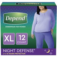 Depend Night Defense Incontinence Underwear for Women, Overnight, Extra-Large, Light Pink, 12 Count