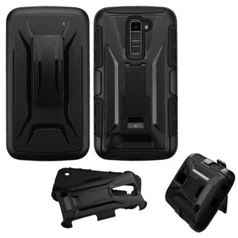 For LG K10/Premier LTE Black/Black Advanced Armor Stand Protector Case w/Holster