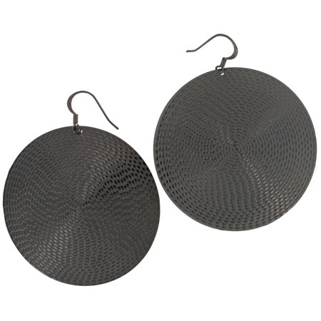 Big Gunmetal Gray Tone Statement Disc Circle Dangle Earrings Big 3