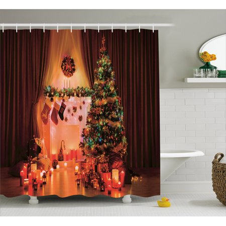 Christmas Shower Curtain New Year In The House With Various Objects Peaceful Place Photography Print Fabric Bathroom Set Hooks Multicolor