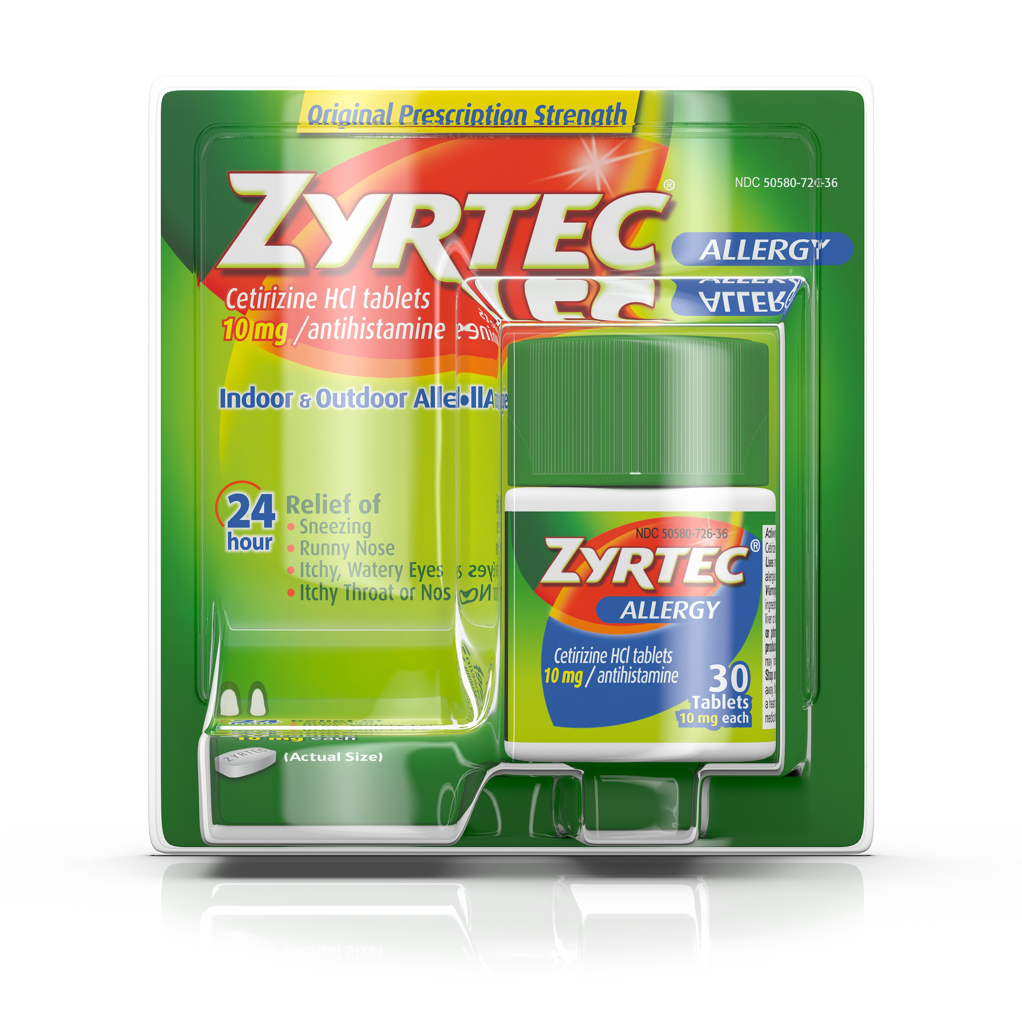 Zyrtec Prescription-Strength Allergy Medicine Tablets With Cetirizine, 30 Count, 10 mg - Walmart.com | Tuggl
