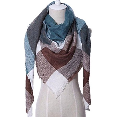 PAPER & QUARTZ Triangular Shawl Scarf in Forest Brown and Teal Green Dark Brown Forest Green