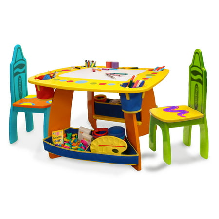 Grow N Up Crayola Kids Wooden Table Chair Set Walmart Com