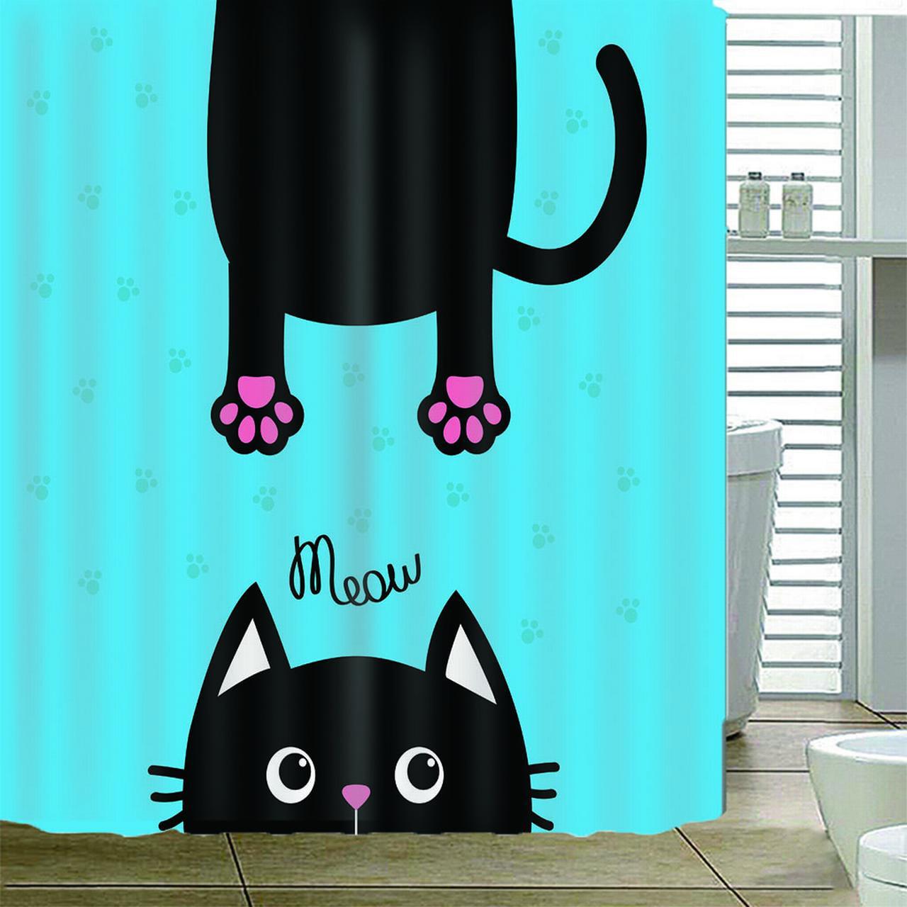 Cat Shower Curtain Set Cute Kitty Black Paw Print Purple Blue Meow Bathroom Decor Waterproof Polyester Fabric Accessories Bath Walmart Canada