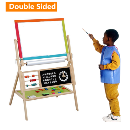3 in 1 Wooden Art Easel for Kids, Double Sided Childrens Easel with Magnetic Chalkboard,Toddlers Easel Adjustable with Paper Roll ,Chalk, Mark Pen and Eraser - Chalkboard Kids
