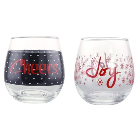Kovot 2 Piece Holiday Cheers and Joy 16 oz. Wine Glass Set