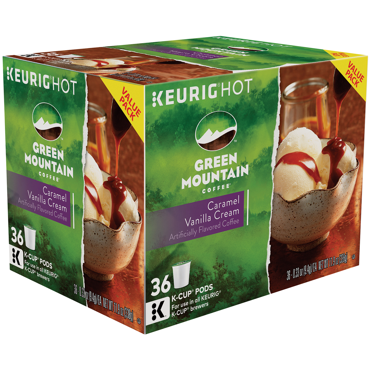 Keurig Hot Green Mountain Caramel Vanilla Cream Coffee K-Cup Pods, 0.33 oz, 36 count