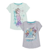 Disney Frozen 2 Girls Elsa and Anna Glitter and All Over Print Graphic T-Shirts, 2-Pack, Sizes 4-16