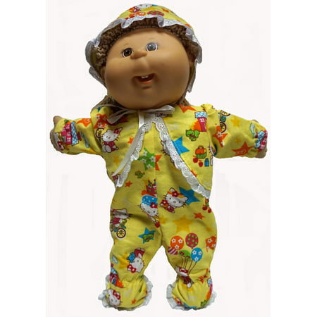 Yellow Flannel Sleeper With Hat Fits Cabbage Patch Kid - Flannel Cap