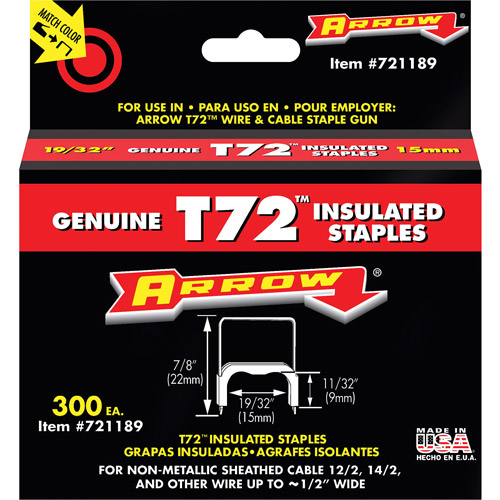 "Arrow Fastener 19 32"" T72 Insulated Staples by Arrow Fastener"